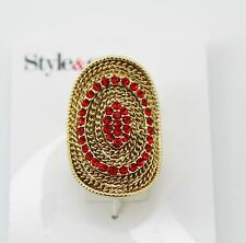 Style & Co. Gold -Tone Red Crystal Mesh Stretch Ring