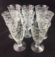 """Set of 8 Fostoria CHINTZ 4 3/4"""" Etched Juice Glasses 1 Stem w/ a Small Iclusion"""