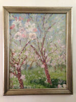 original oil painting on canvas impressionism style Blossom Trees signed & dated