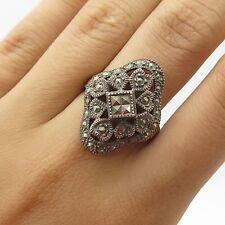 Vintage Sterling Silver Sparkling Marcasite Gem Womens Openwork Wide Ring Size 8