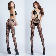 Sexy Quality Black Flowers Patterns Bra Fishnet Bodystocking, Lingerie, UK 6-12