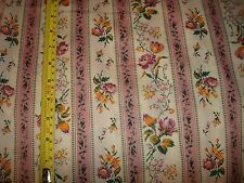 Vtg Mr. Condotti Cotton fabric floral rose Gold green pink stripes ticking BTY