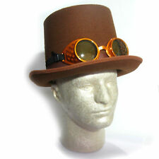 Brown Coachman Hat & Goggles Faux Suede Top Hat Halloween Adult Steampunk