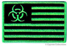 ZOMBIE STATES OF AMERICA PATCH embroidered iron-on BIOHAZARD SYMBOL UNITED GREEN