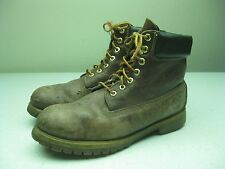 VINTAGE BROWN DISTRESSED TIMBERLAND MADE IN USA LACE UP ANKLE WORK BOOTS 11 M