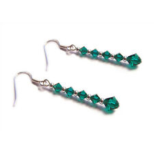 Emerald green crystal sterling silver earrings goth gothic victorian steampunk