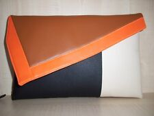 OVERSIZE ORANGE, TAN, CREAM AND BLACK faux leather clutch. made in the UK.