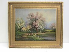 M Bandouch Original Oil Painting Signed Framed Pastoral Chickens