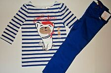 NWT Gymboree frenchie dog blue striped shirt & blue pants girls outfit size 5
