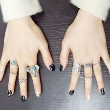 8Pcs/Set Fashion Punk Womens Personality Elephant Antique Silver Finger Rings HQ