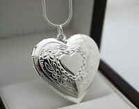 """Stunning 925 Stamped Silver Heart Locket with 18"""" Chain Necklace - New - 32"""