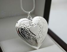 "Stunning 925 Stamped Silver Heart Locket with 18"" Chain Necklace - New - 32"