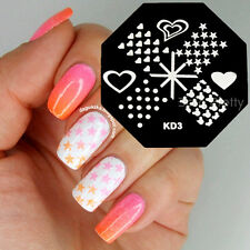 Nail Art Stamping Plates Stamp Template Cute Bear Heart Dots Stars Design KD3