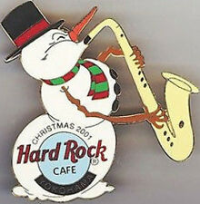 Hard Rock Cafe YOKOHAMA 2001 CHRISTMAS PIN SNOWMAN Playing Saxophone