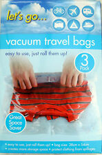 3 QUALITY ROLL STORAGE VACUUM BAGS NO VAC TRAVEL HAND LUGGAGE CLEAR/TRANSPARENT
