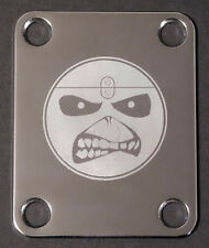 GUITAR NECK PLATE Custom Engraved Etched - IRON MAIDEN Eddie Smiley Face