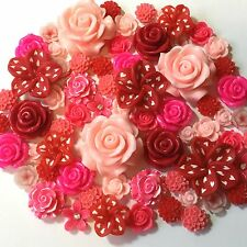 20 Pcs 10mm-35mm Mixed Pink 7 Red Resin & Clay Flower Cabochons Decoden Crafts