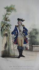 GRAVURE MILITAIRE ANCIENNE 19e - OFFICIER SUPERIEUR ARMEES DE LOUIS XV