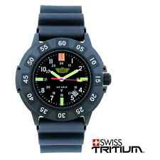 Campco UZI-001-R Black Face Glowing UZI Tritium Protector Watch w/ Rubber Strap