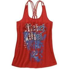 NEW Rocker Girl Juniors Americana Rebel Girl Screen Front Lattice Tank Red, XXL