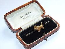 Superbly Detailed, c1910 Solid 9ct Gold & Platinum Scottie Dog / Terrier Brooch