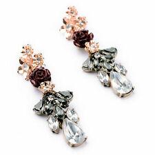 Damen wilden Blumen luxuriösen Luxus-Ohrringe langen Abschnitt Rose und Simili
