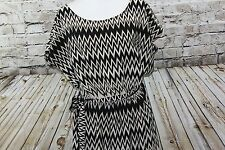 Indulge Black/Creme Print Cap Sleeve Elastic Waist Dress with Belt sz 2X