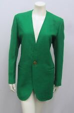 VINTAGE CREATION PIERRE CARDIN JACKET GREEN WOVEN TEXTURED WOOL GOLD BUTTONS 10