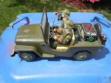 """NOMURA """"ARMY COMMAND JEEP"""" - BATTERY OPERATED WITH BOX- ALL FUNCTIONS WORK GREAT"""