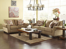 ALDO-Cottage Light Brown Fabric Sofa Couch & Loveseat Set Living Room Furniture