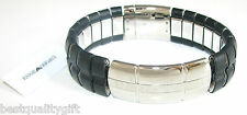 NEW EMPORIO ARMANI S/STEEL+BLACK SEGMENT LEATHER CUFF BRACELET EGS1263 MSRP$275