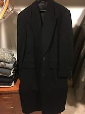 Men's 42 Long Black Career Collection Wool Lined Trench coat Worn Once Amazing!