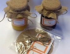 Hessian  JAM covers X 6  includes sticky jar labels  bands & TWINE size 14cm