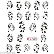 Nail Art Water Transfers Nail Art Stickers Decals UV Tips Black Marilyn Monroe