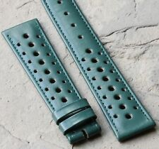 Racing green 20mm leather perforated vintage watch strap Swiss 1960s/70s 5 sold