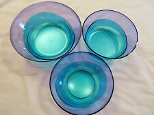 NEW Tupperware Set of 3 Sheerly Elegant Serving Bowls Blue/Green/Purple  No Lids