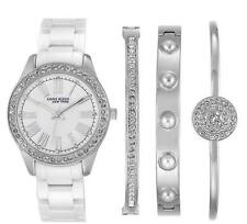 NEW! Anne Klein New York Women's Ceramic Watch And Bracelet Set 12/2257SVST