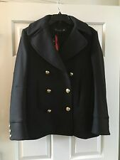 H&M HM Balmain Black Short Pea Coat Jacket Size US 6