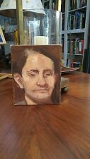 Vintage Mid Century Impressionist Portrait Painting Man Male Oil On Canvas