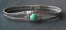 """Top quality 925 Sterling silver bracelet with Tuquoise colour cabochon 7""""  CZ"""