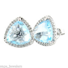 Sterling Silver Trillion Cut Blue Topaz with Diamond Border Stud Earrings