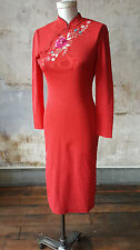 Red Embroidered Mock Neck  Cheong-Sam Style Sheath Dress XS SMALL Long Sleeved