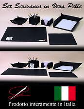 PREGIATO SET SCRIVANIA IN VERA PELLE - 6 PEZZI - IDEA REGALO - MADE IN ITALY