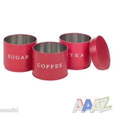 3 Stackable Coffee Tea Sugar Set Metal Food Storage Tins Kitchen Canisters Jars