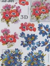 3D A4 Paper Tole Red & Blue Flowers Card Making NEW