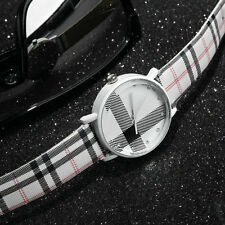 Fashion Plaid Leatheroid Watch Women Men's Sport Casual Quartz Wristwatch BE
