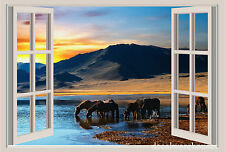 Horses Sunset Mountains Window View Repositionable Wall Sticker Wall Mural