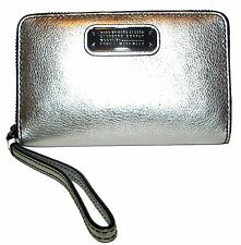 MARC JACOBS Silver Leather Zip-Around Clutch NWT