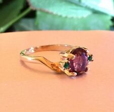 Stunning Vintage Joseph Esposito Ring 14K Gold Plated Purple & Green Stones r3j