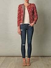"""ISABEL MARANT """"SUMAC"""" Reversible Quilted Jacket SZ 38 Red Floral & Check"""